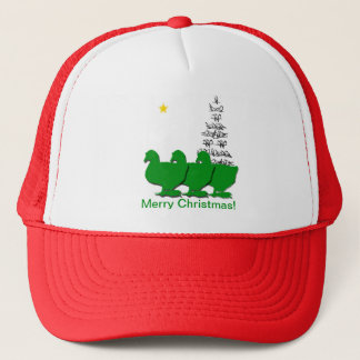 3 Green Christmas Geese with Christmas Tree & Star Trucker Hat