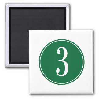 #3 Green Circle 2 Inch Square Magnet