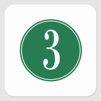 #3 Green Circle Square Sticker