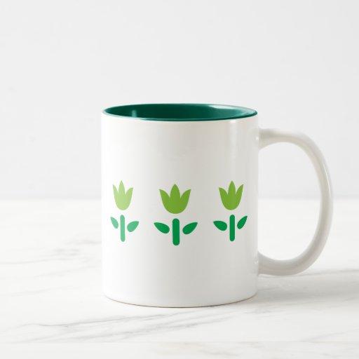 3 Green Flowers Two-Tone Coffee Mug
