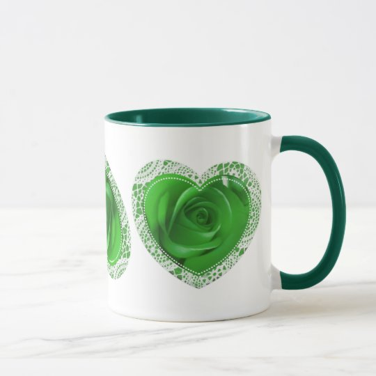 3 Green Lace Heart - mug