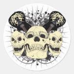 3 guitarras del cráneo pegatina redonda