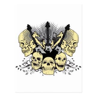 3 Guitars Skulls Postcard