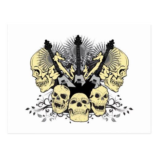 3 Guitars Skulls Postcards