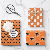 3 Halloween Coordinates NAME Bats Ghosts & Spiders Wrapping Paper Sheets