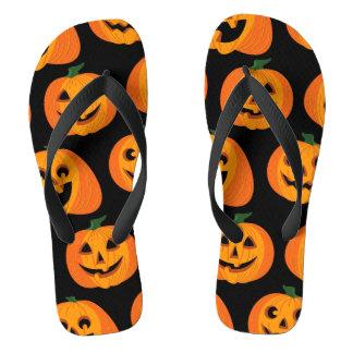 3 Halloween Pumpkins Flip Flops
