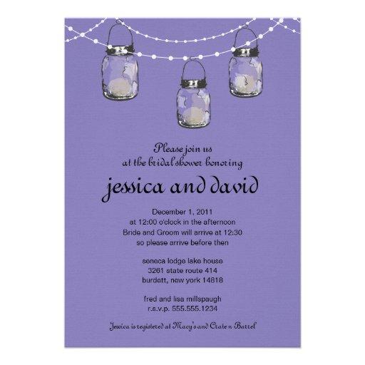 3 Hanging Mason Jars - Bridal Shower Invitations