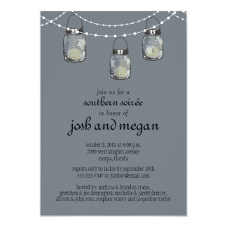 3 Hanging Mason Jars - Engagement Party Card