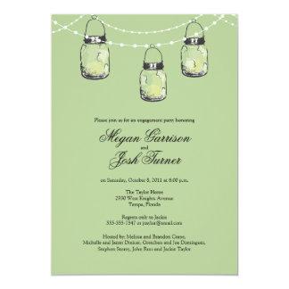 3 Hanging Mason Jars - Engagement Party Card