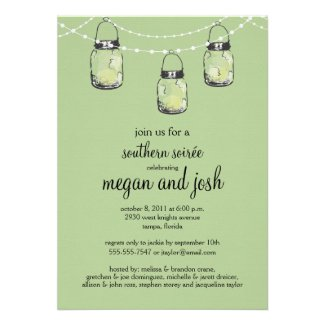 3 Hanging Mason Jars - Engagement Party Personalized Invitation