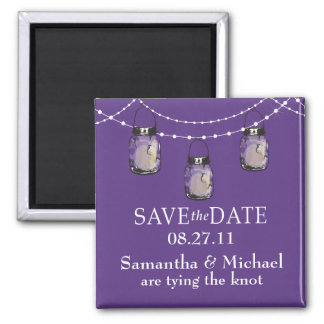 3 Hanging Mason Jars - SAVE THE DATE 2 Inch Square Magnet