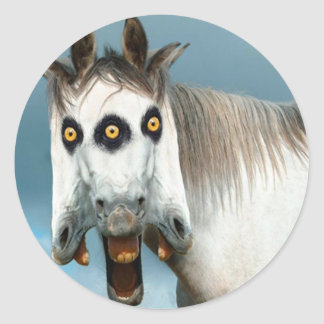 3-Headed Horse Classic Round Sticker