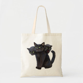 3 headed kitty budget tote bag