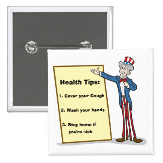 3 Health Tips from Uncle Sam Pinback Buttons