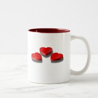 3 Heart shaped candy boxes Two-Tone Coffee Mug