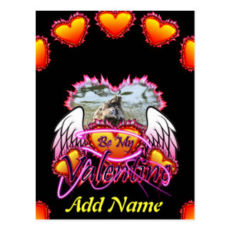 3 Hearts Angel Wings Be My Valentine sign. Postcard