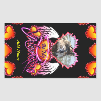 3 Hearts Angel Wings Be My Valentine sign Rectangle Sticker
