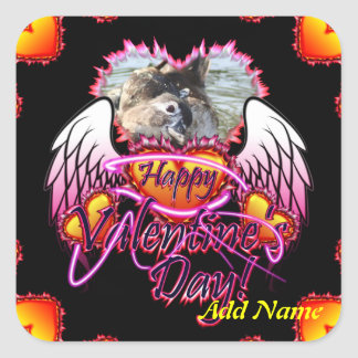 3 Hearts Angel Wings Happy Valentine s Day sign Square Sticker