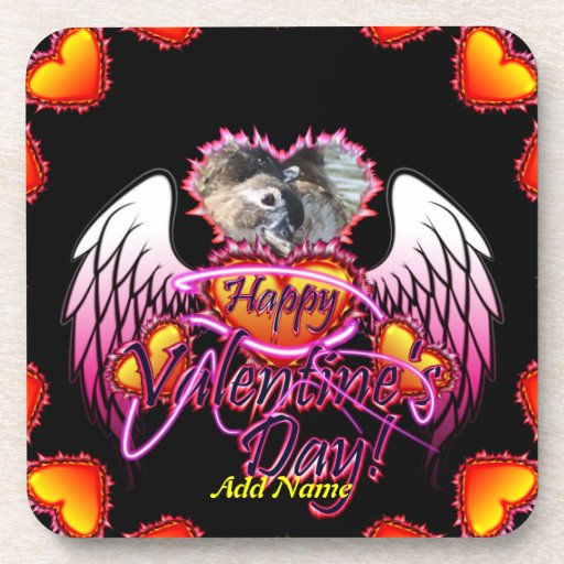 3 Hearts Angel Wings Happy Valentine's Day sign Beverage Coasters