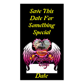 3 Hearts Angel Wings Happy Valentine's Day sign Double-Sided Standard Business Cards (Pack Of 100)