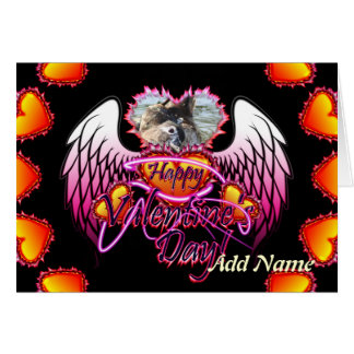 3 Hearts Angel Wings Happy Valentine's Day sign Greeting Card