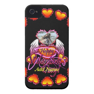 3 Hearts Angel Wings Happy Valentine's Day sign iPhone 4 Case