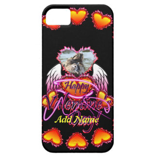 3 Hearts Angel Wings Happy Valentine's Day sign iPhone 5 Case
