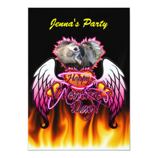 3 Hearts Angel Wings Happy Valentine's Day sign 5x7 Paper Invitation Card