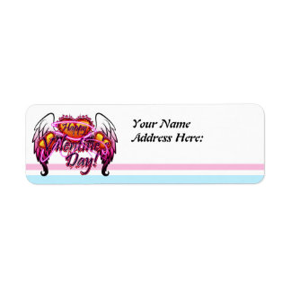 3 Hearts Angel Wings Happy Valentine's Day sign Return Address Label