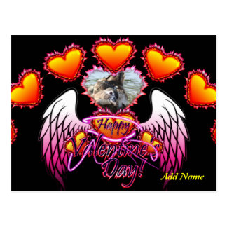 3 Hearts Angel Wings Happy Valentine's Day sign Postcard