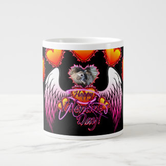 3 Hearts Angel Wings Happy Valentine's Day sign 20 Oz Large Ceramic Coffee Mug