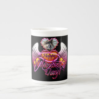 3 Hearts Angel Wings Happy Valentine's Day sign Tea Cup
