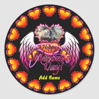 3 Hearts Angel Wings Happy Valentine's Day sign Classic Round Sticker