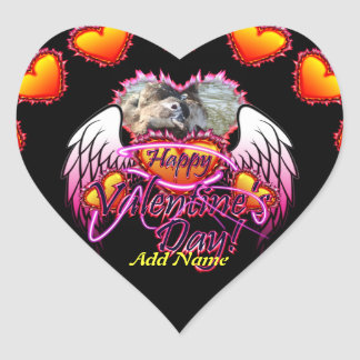 3 Hearts Angel Wings Happy Valentine's Day sign Heart Sticker