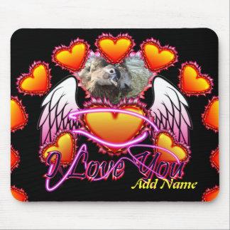 3 Hearts Angel Wings I Love You sign. Mouse Pads