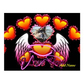 3 Hearts Angel Wings I Love You sign. Postcard