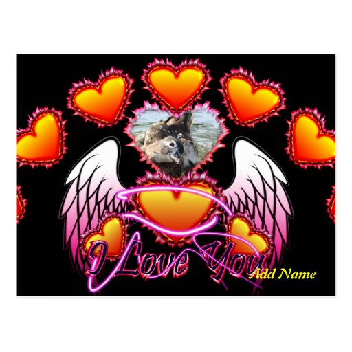 3 Hearts Angel Wings I Love You sign. Postcards
