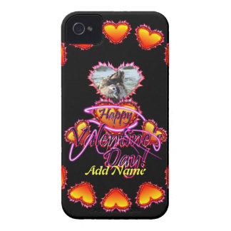 3 Hearts Happy Valentine's Day neon sign Case-Mate iPhone 4 Cases