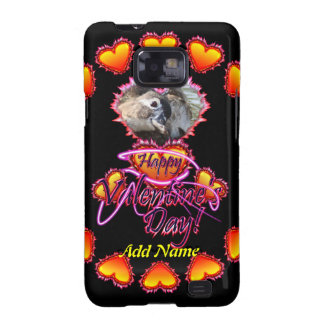 3 Hearts Happy Valentine's Day neon sign Galaxy S2 Case