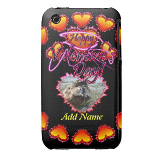 3 Hearts Happy Valentine's Day neon sign iPhone 3 Cover