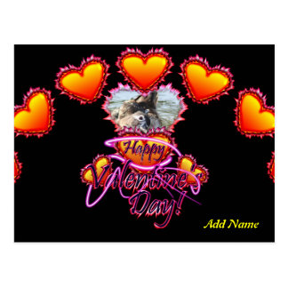 3 Hearts Happy Valentine's Day neon sign Postcard