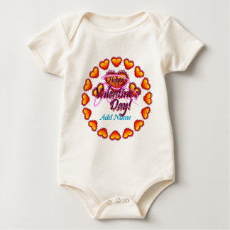 3 Hearts Happy Valentine's Day neon sign Baby Bodysuits