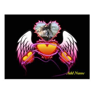 3 Hearts with angel wings and neon sign. Postcard