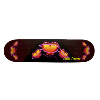 3 Hearts with angel wings and neon sign Skate Board Deck