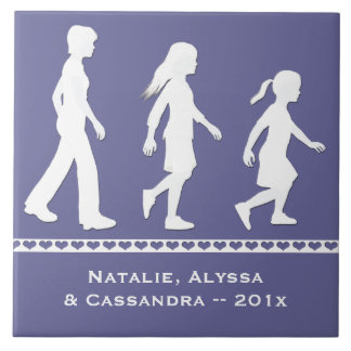 3 hermanas: Siluetas de 3 chicas Azulejos Cerámicos