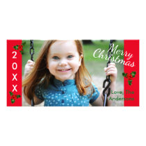 3 Holly Red Merry Christmas - Christmas Photo Card