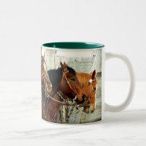 3 Horse Heads Two-Tone Coffee Mug