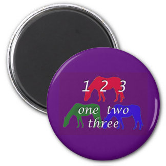 3 horses in 3 horse colors on dark purple backgrou magnet