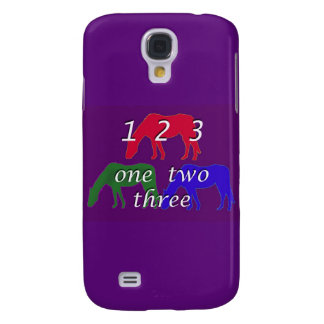 3 horses in 3 horse colors on dark purple backgrou samsung galaxy s4 case