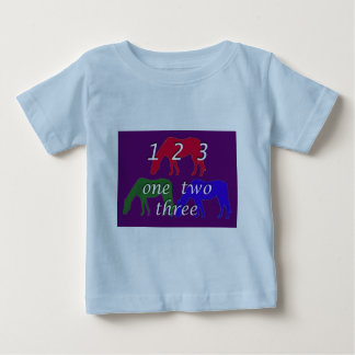 3 horses in 3 horse colors on dark purple backgrou t-shirt